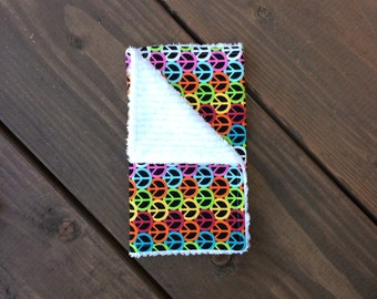 Burp Cloth <<Peace>> Baby/Toddler/Drool//Rainbow//Black//Red//Orange//Yellow//Blue//Green//Purple//Peace Sign//Love//Hippy//Hippies