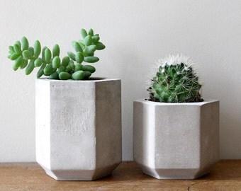 Set of Two Hexagon Cement Planters perfect for a Cactus or Succulent Plants // Concrete Plant Pot - Handmade