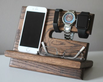 Night Stand Oak Wood Valet iPhone Galaxy Charging Stand Nightstand Dock Graduation Father's Day Birthday For Him Fitbit Jawbone cell