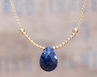 Blue Sapphire Necklace,  Sapphire Pendant Necklace, Gold or Silver Tear Drop Sapphire Necklace, September Birthstone Jewellery, Wife Gift