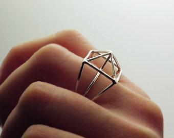 Sterling Silber Ring, Geo Silber Ring, Architektur-Ring, Ring Silber Struktur