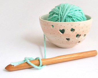 Ceramic Yarn Bowl, Knitting Bowl, Hand Painted with Hearts in Pink Color. Ready To Ship