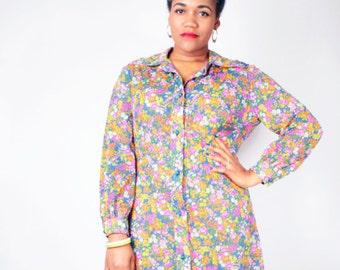 Vintage 70's Sheer DITZY FLORAL PRINT Day Garden Party Shirt Dress // Vintage Plus Size Dress (sz 12 14)