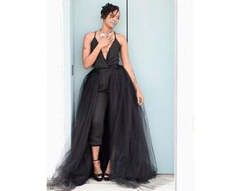 Tulle Overskirt - Black, Tulle Wedding Skirt, Detachable Skirt, Tulle Train,  Bridal Train, Bridal Overskirt, Overlay Skirt, Detachable Tutu