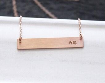 Rose Gold Bar Necklace, Rose Gold Nameplate Necklace, Personalized Necklace, Personalized Rose Gold Bar Necklace, Custom Name Bar Necklace