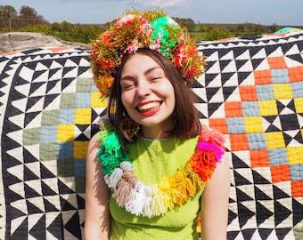 Multicolour Tinsel Festival Pom Pom Headband