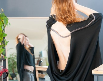 Oversized, extravagant backless tunic, model Roni
