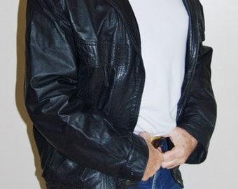 Roger David mens black leather biker punk goth casual bomber jacket size L