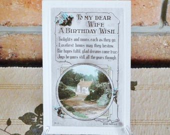 "Victorian birthday greeting postcard ""To My Dear Wife"", unused, pristine, late 1800s early 1900s ephemera"