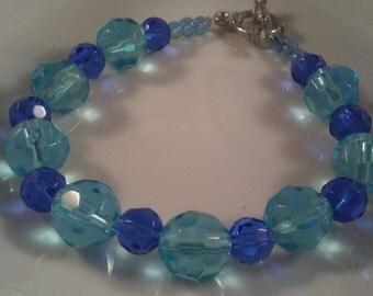 Handmade Beaded Bracelet Gift, Glass Bracelet, Blue Glass Bracelet