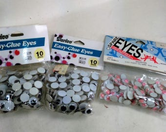 Set Of 3 Packages Of 10 MM Crafting Glue On Eyes/1 Pkg. Red- 144 Count/2 Pkg. Black- 144 Each/ New (P)