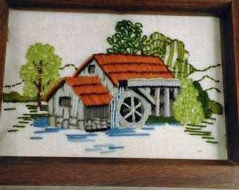 Vintage Hand Crafted Wall Hanging/Watermill Stitchery On Canvas Backing/Sunset Design/In Wood Frame/Back In Raw State See PIc.#2 (U)