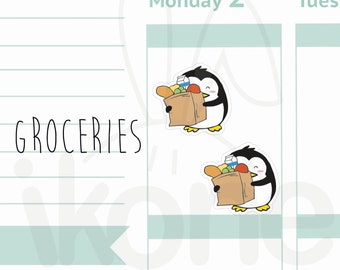 24 Groceries Planner Stickers, Cute penguin Planner Stickers - kawaii penguin sticker