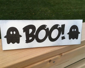 """Boo Ghost Halloween Hand Painted Wood Sign - Halloween Sign - Halloween Decor - Home Decor - Wood Decor - 4""""x12"""" - Fall Decor"""