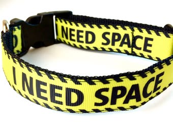 I Need Space Dog Collar, Leash or Step In Harness with Personalized Engraved Buckle Option