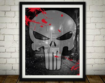 The Punisher Logo - Digitally Painted Tribute  - PRINTED - BUY 2 Get 1 FREE