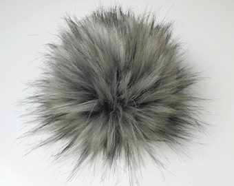 Size L (charcole grey flecked ) faux fur pom pom 6 inches/ 15cm