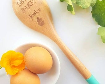 Personalised Engraved Wooden Spoon Let's Bake