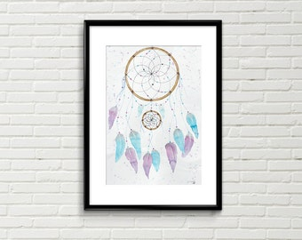 Dreamcatcher, Original,  watercolour, watercolor, painting, illustration, dream, wall art, wall décor, feathers, boho,native american, art