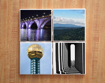 Tile Coasters – Handmade Coasters – Tennessee Coasters – Knoxville Coasters – Nashville Coasters – Tennessee Gifts – Housewarming Gift