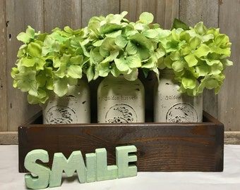 Rustic Centerpiece Planter Box with 3 painted Mason Jars & Flowers Wedding  Anniverysary Shower Special Occasion Centerpiece Box