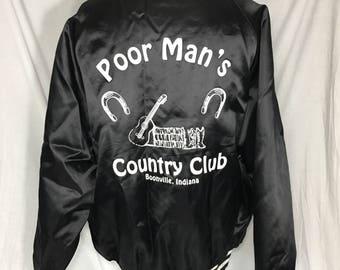 Vintage Poor Mans Country Club 2XL Black Nylon Satin Look Jacket XXL
