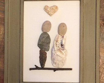 Unique one-of-a-kind gift! Wedding Day pebble art collage