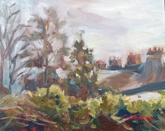 "Plein air painting, Original oil on canvas board, 10x12"" ;Misty Morning over the hedge, Suburban landscape, roof-line with chimney pots"