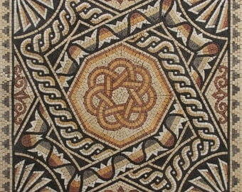 Ancient Palace Floor Central Square Design Marble Mosaic GEO497