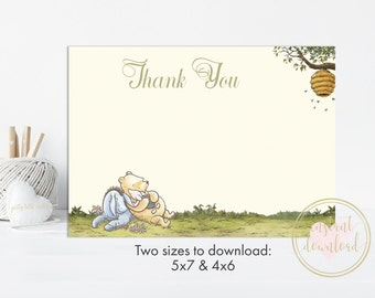 Winnie the Pooh Thank You Card, Classic Pooh, Winnie the Pooh Party, INSTANT DOWNLOAD, Thank You Cards, Printable Thank You Cards