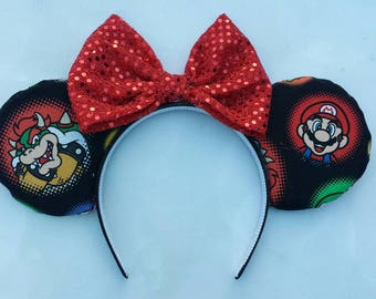 Mario and Bowser Mickey ears
