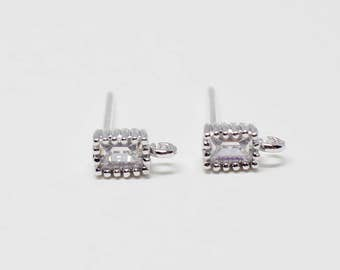 E0133/Anti-Tarnished Rhodium Plating Over Brass+Sterling Silver Post/ Tiny Square Cubic Stud Earrings/4x5mm/2pcs