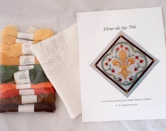 Crewelwork Embroidery Fleur de Lis Kit // Wool thread, Canvas, and Pattern Included // Jaded Raven Studios