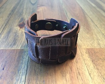 FREE SHIPPING - Brown Genuine Leather Weaved Cuff Bracelet - Rugged Unisex Cuff Bracelet