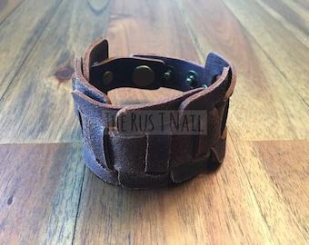 FREE SHIPPING - Brown Genuine Leather Weaved Cuff Bracelet - Rugged Unisex Cuff Bracelet