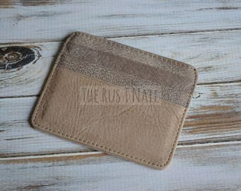 FREE SHIPPING - Genuine Leather Slim Credit Card Wallet - Shades of Brown