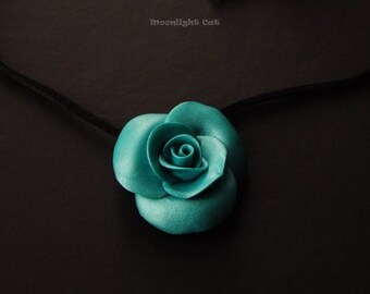Turquoise Rose Necklace, Rose Pendant, Flower Jewellery, Polymer Clay Rose, Turquoise Rose, Large Rose Pendant