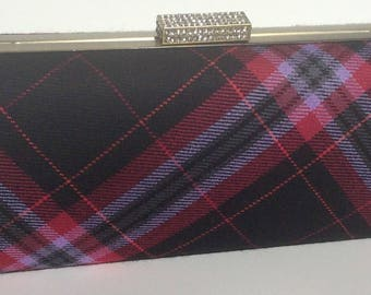 Black and pink Rubislaw tartan plaid clutch bag