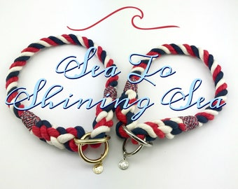 ON SALE!!! Sea To Shining Sea - Red White & Blue Rope Collar, Dog Collar, Slip Collar, Training Collar