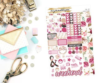 Scarlet Floral   Personal Size Weekly Sticker Kit   PWK   Planner Stickers