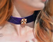 Velvet Choker, Purple Choker, Choker, Necklace, Gemstone Choker, Necklace, Boho Choker, Chick Choker, Pendant Choker