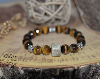 Tiger Eye Bracelet, Gem Bracelet, Emotional Support Bracelet, Women Tiger Eye Bracelet, Fancy Bracelet, Stretch Bracelet