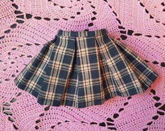 Blue and Yellow Plaid Pleated BJD Skirt for SD / MSD  / yosd / leekeworld art body