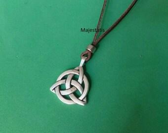 genuine leather celtic necklace ajustable leather necklace celtic trinity knot pendant, womens mens leather necklace kids necklace infinty