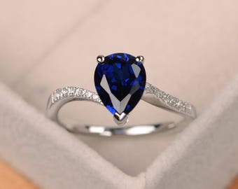 Sapphire engagement ring, pear shaped ring, silver gemstone ring, blue sapphire, September Birthstone