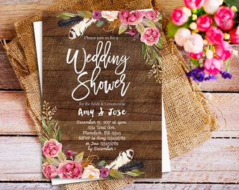 boho wedding shower invitation, rustic floral wedding shower invite, boho wedding shower invitation, boho wedding party shower invitation