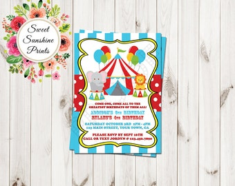 Carnival Theme Invitation, Circus Theme Invitation, Birthday Party Invitation, Jungle Theme Birthday Invitation, 1st birthday, 2nd Birthday