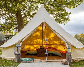 4 Metre Cotton Canvas Bell Tent - Vintage Glamping - Festival Tent.