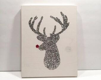 Deer Head Reindeer, Gold Reindeer Christmas Decor, Rudolph Red Nose Reindeer, Christmas Sign, Handmade Christmas Sign, Wooden Sign