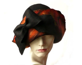 Felt Hat,Felted Hat,Woman's Hat, Felt Hats,Cloche Hat, Cloche Hats, Art Hat,Downton Abbey Hat,Unique Hat,Black Hat,Brown Hat